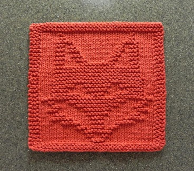 Knitted Quilt Block Patterns : FOX Wash Cloth / Dishcloth / Quilt Block Home, Knitting and Home decor