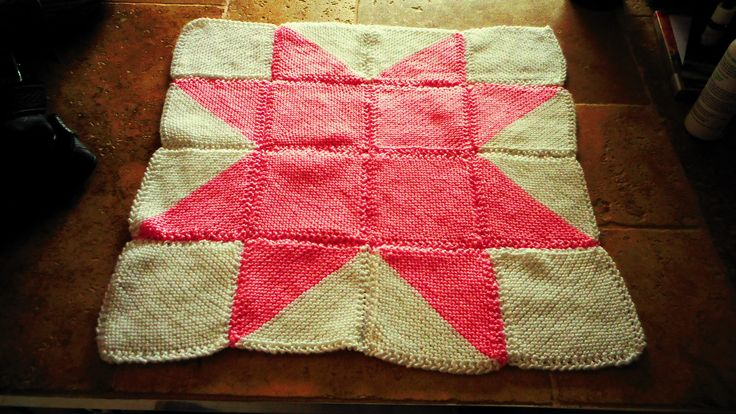 Texas Star hand knitted baby pram blanket