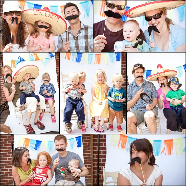 Cinco de Mayo party photo booth with sombreros and mustaches. Cute!
