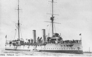 HMAS Pioneer was commissioned by the Royal Navy on 10 July 1900. Pelorus Class, Light Cruiser (3rd Class Protected Cruiser), Builder-Chatham Dockyards, England, Laid Down-16 Dec 1897, Launched-28 June 1899, Commissioned-1 March 1913, Decommissioned-7 Nov 1916,Following a period in home waters, Pioneer proceeded on 15 Nov 1900 to the Mediterranean Station to relieve the cruiser HMS Fearless.She served for 4 years in Mediterranean waters,returning to Chatham on 20 Dec 1904 & was placed in…