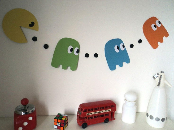 80 39 s party decoration pac man bunting banner eighties for 1980s party decoration ideas