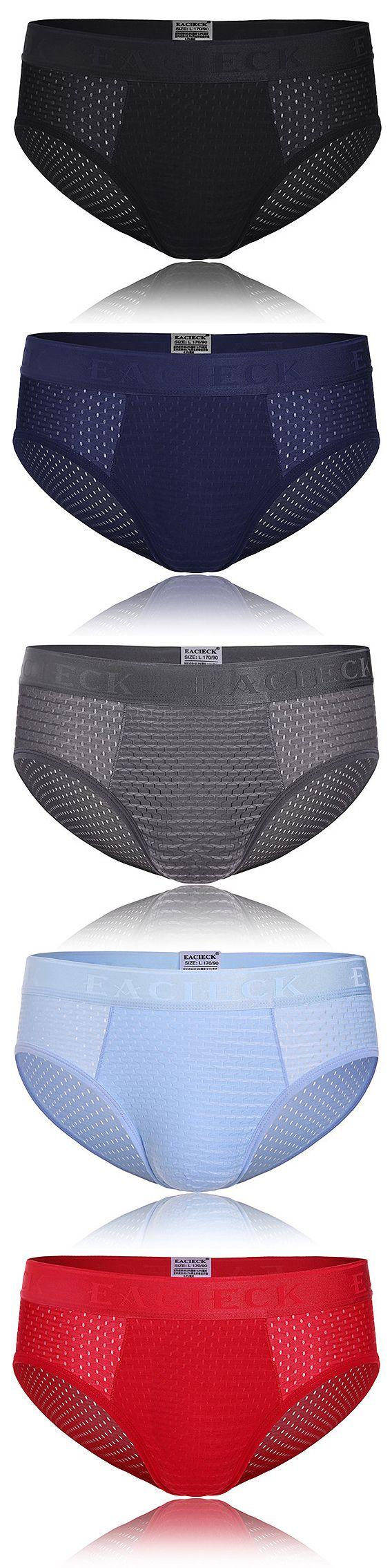 Sexy Mesh Ice Silk U Convex Breathable Bamboo Fiber Briefs Underwear for Men
