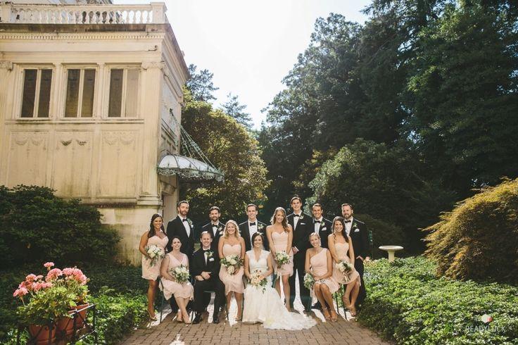 Photography: Readyluck - www.readyluck.com Wedding Dress: L'Fay Bridal - www.lfay.com/nj-chatham Groomsmen Attire: Men's Wearhouse - http://www.stylemepretty.com/portfolio/mens-wearhouse   Read More on SMP: http://www.stylemepretty.com/2015/11/24/romantic-evergreen-museum-and-library-wedding/