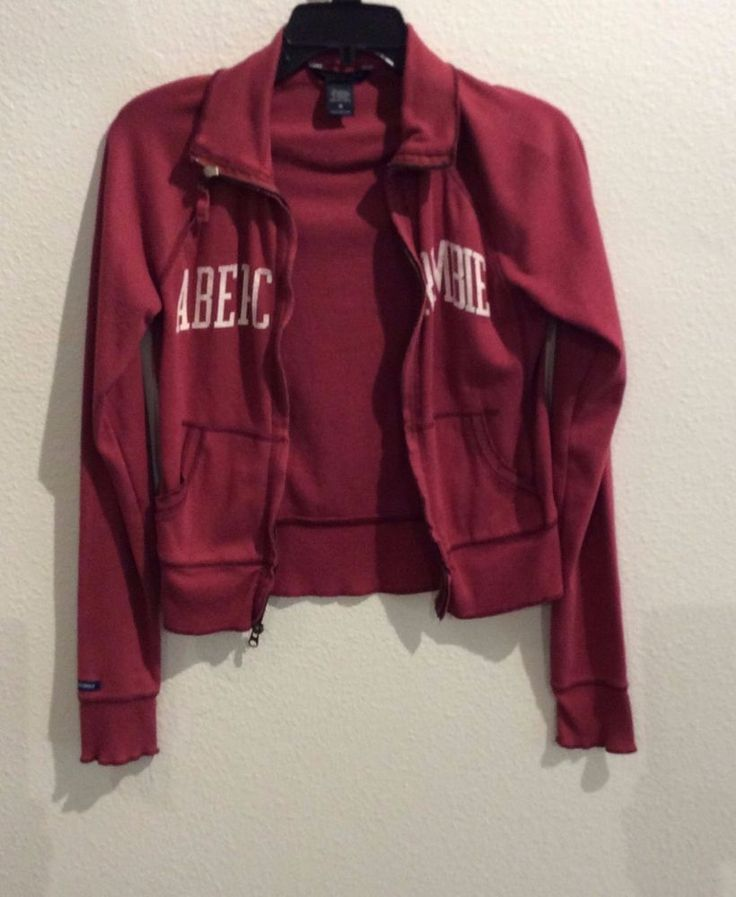 Abercrombie & Fitch Medium Red Jacket Vintage L/S #AbercrombieFitch #Hoodie