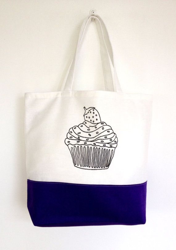 Colouring In Cupcake Themed Tote Bag  Black & by SimplyAddColour