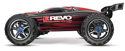 ﹩529.95. Traxxas 1:10 E-Revo Brushless RTR Truck Red 56086-4 TRA56086-4RD    Scale - 1:10, Type - Truck, Required Assembly - Almost Ready/ARR/ARF (Accs required), Color - Red, Fuel Type - Electric, Recommended Surface - Off-Road  On-Road, UPC - 020334564832