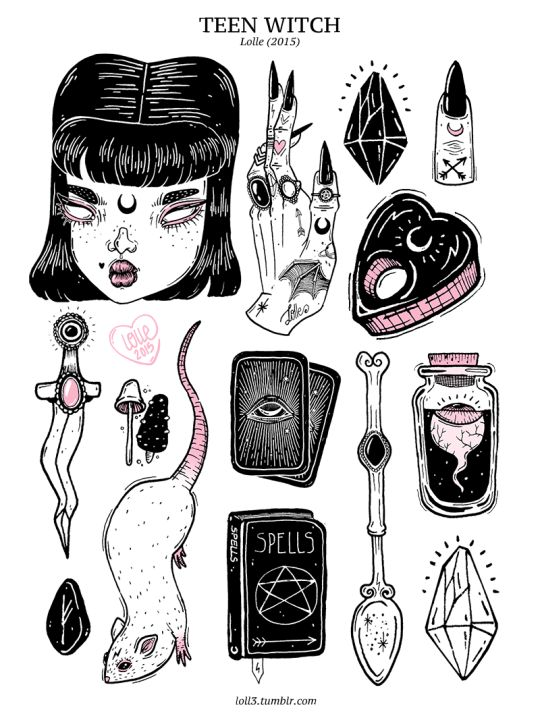 teen witch, lolle, art, dagger, spell book, book of shadows, tarot cards, rat, crystals, lipstick