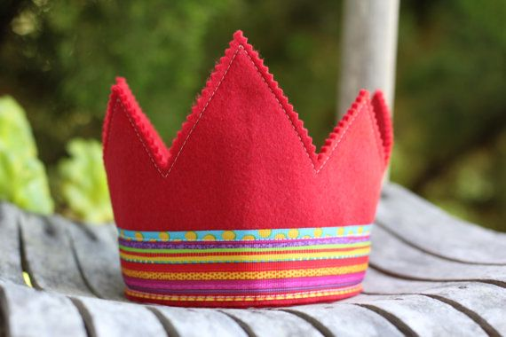 Lets all wear crowns and march fiercely forward with our friends! This red felt crown is a great way to celebrate the little guy or gal in your life! My wool felt crowns are great for birthday parties, smash cake moments, and photo shoots of your little-littles! Prince, king, or