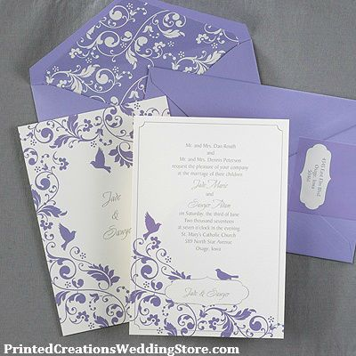Beautiful English Garden Flowers And Birds In A Light Shade Of Purple Adorn This Two Wedding InvitationsWedding