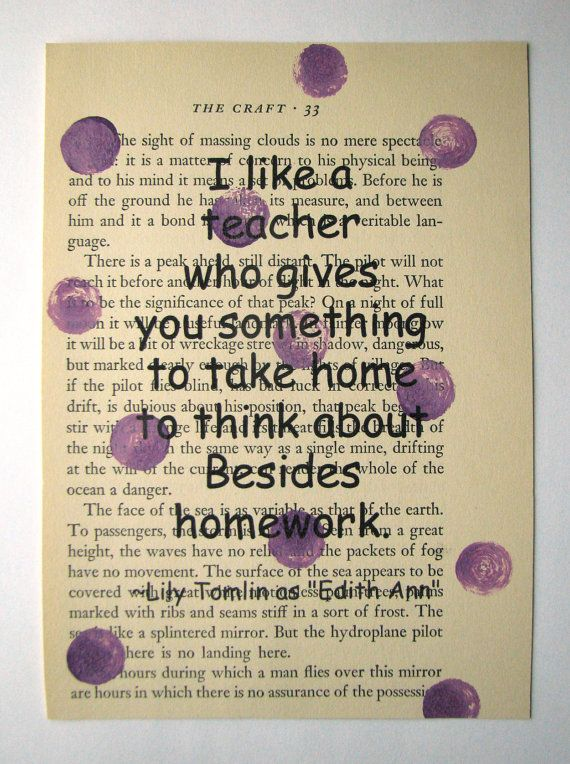 Teacher quote print on a book page Teacher Gift by ESPARTOstudio, $8.00