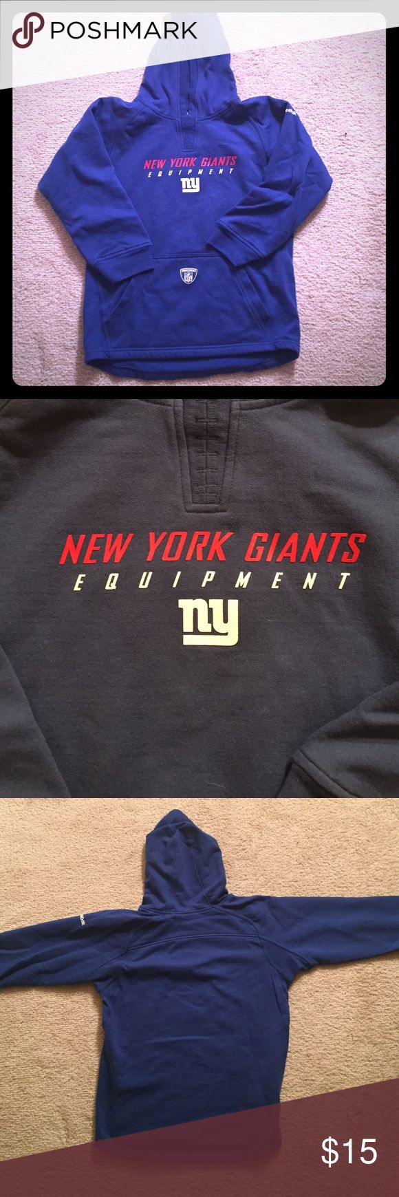 Children's sweatshirt NY Giants sweatshirt. In good condition with good and front pouch. Size medium (10-12) but will also fit a ladies XS. Reebok Shirts & Tops Sweatshirts & Hoodies
