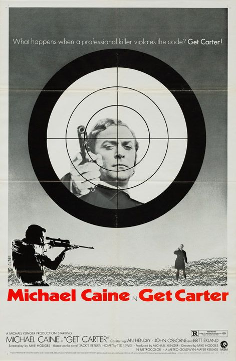 """What happens when a professional killer violates the code? Get Carter!""  We love the moody monochrome artwork on this much rarer Style B US poster, with Michael Caine as the titular Carter nicely framed in the crosshairs. One of the best posters available for arguably one of the best British films of all time."