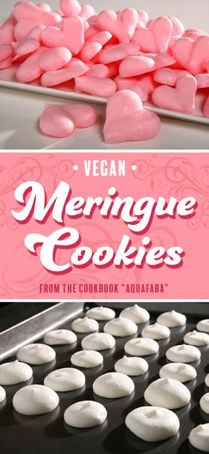 Made with 'bean water' instead of eggs. Vegan Meringue Cookies from the cookbook Aquafaba.