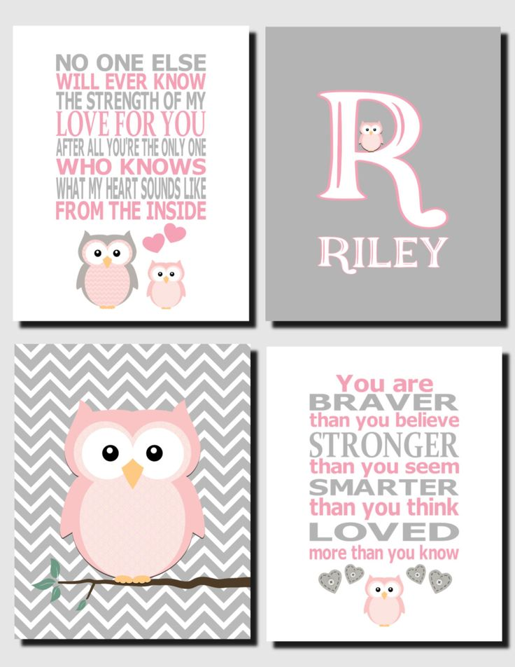 Baby Girl Nursery, Pink and Gray Owl Wall Art, Kids Wall Art, Initial, The Strength of my Love, Baby Girl Room, Set of 4, Prints or Canvas by vtdesigns on Etsy