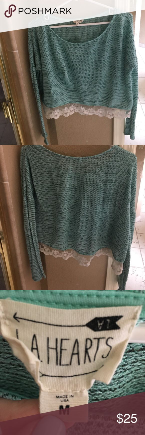 LA Hearts Lace Trim Mint Sweater This LA hearts mint green woven sweater is slightly cropped and has a lace trim. It is a size medium and in excellent condition! LA Hearts Sweaters Crew & Scoop Necks