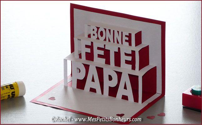 carte fête des pères pop up kirigami bonne fête papa
