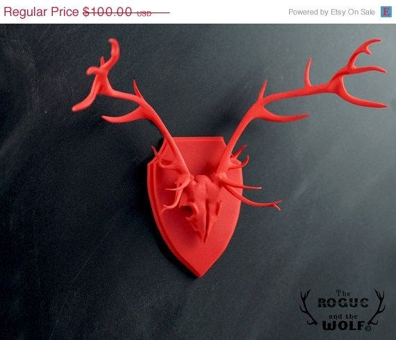 Stag faux taxidermy deer anatomical skull antlers home for Interior designs red deer