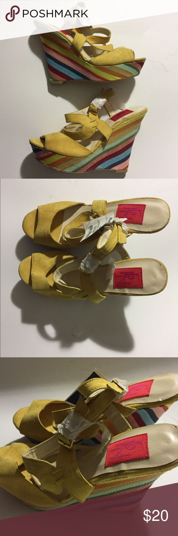 NWT Yellow Wedge Sandals from Marshalls Size 8 NWT Yellow Wedge Sandals from Marshalls Size 8 FRH Shoes Wedges