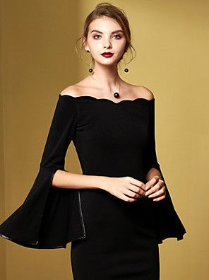 MASKED QUEEN Women's Casual/Daily Vintage Sheath DressSolid Off Shoulder Above Knee Black Cotton Fall / WinterHigh – USD $ 36.99