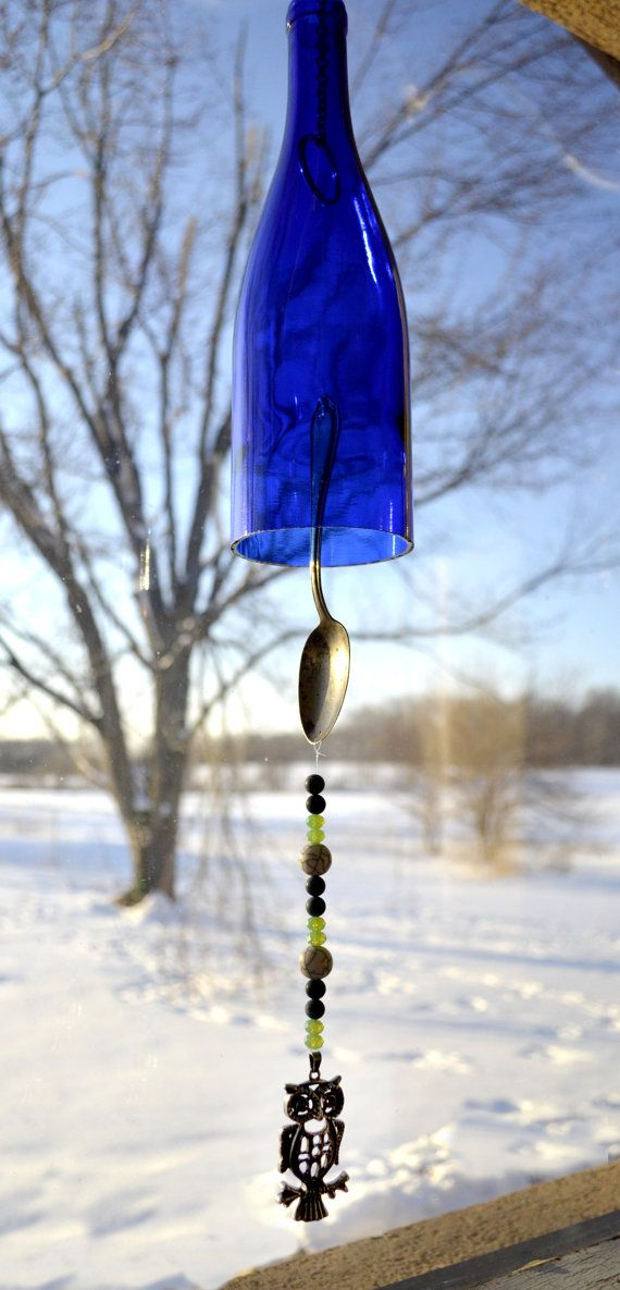 Recycled wine bottle wind chime crafts wine bottles for Glass bottle wind chimes