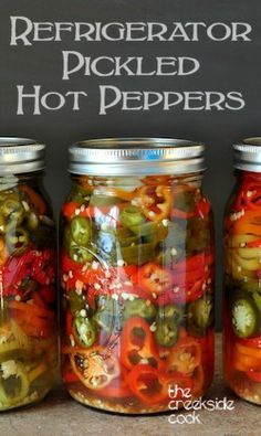 Spicy, crunchy and easy: Refrigerator Pickled Hot Peppers   The Creekside Cook  #hotpeppers #picnic #jalapenos