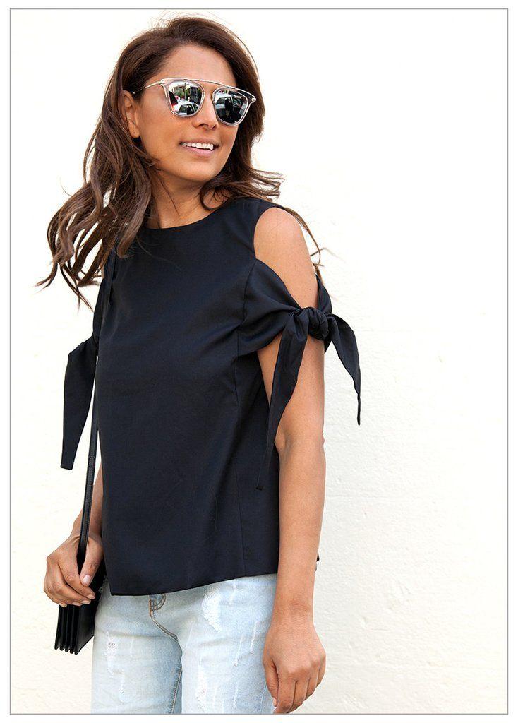 ALWAYS FOREVER TIE DETAIL TOP #CLOTHING cold shoulder top black $59.95