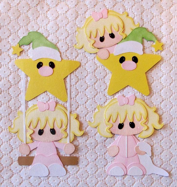 Girl Paper Piecing Set 4 Scrapbook Pages