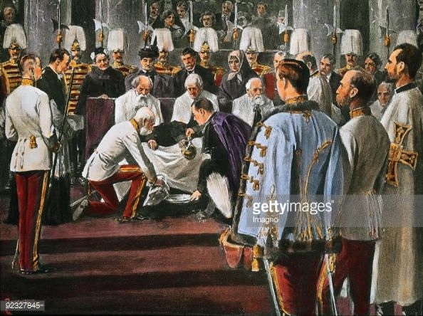 Ritual foot washing by Emperor Franz Joseph I on Maundy Thursday. He is washing the feet of 12 old men and women. In the foreground the Archduke Franz Ferdinand of Austria-Este. Zeremoniensaal ....