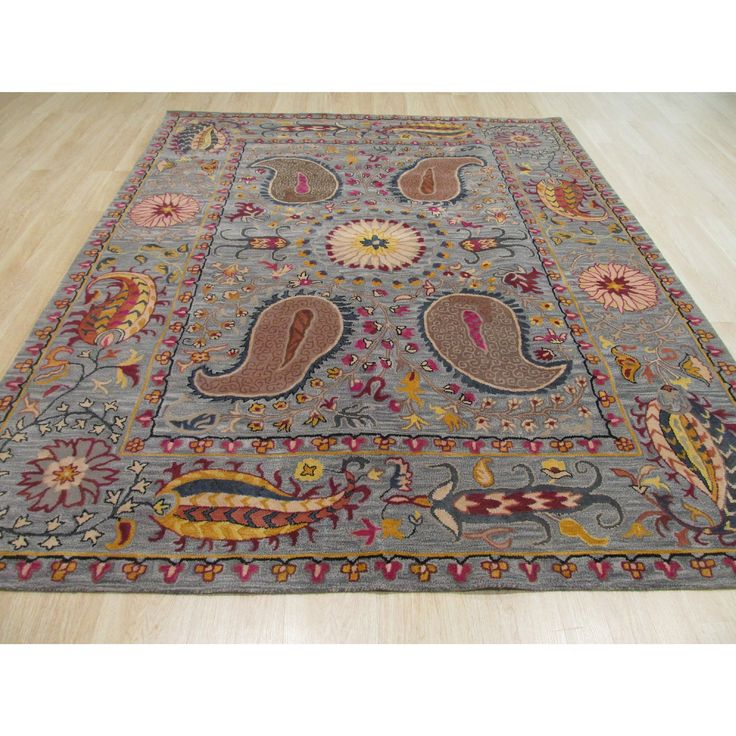 EORC Hand-tufted Wool Blue Transitional Floral Paisley Rug (8'9 x 11'9) (8'9 x 11'9), Size 9' x 12'