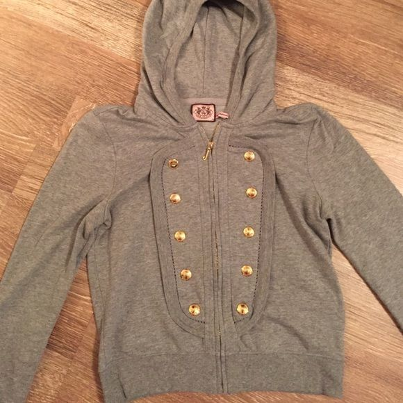 Juicy Couture military hoodie Military inspired gray  hoodie in excellent used condition. Size is Medium but best fits small. Gold hardware. Juicy Couture Jackets & Coats