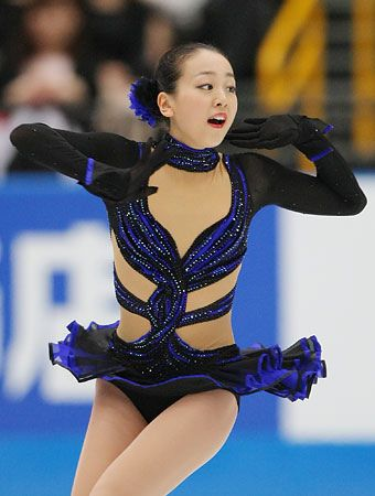 mao asada - Google Search  -Black Figure Skating / Ice Skating dress inspiration for Sk8 Gr8 Designs.