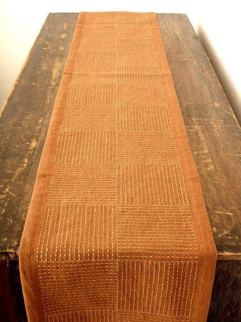 https://flic.kr/p/6jxcGW   Sashiko table runner   :fabric: Kakishibu (dye made from astringent extract of persimmon) :thread: Embroidery cross-stitch thread :pattern: Ichimatsu (checkered) by straight stitch