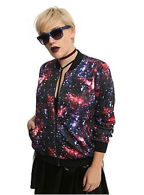 """<div>Be the coolest chick in the universe with this bomber jacket! Its red and blue galaxy print looks dazzling with patent faux leather and makes for the ultimate space grunge outfit. Features a front zipper closure and two hip pockets.</div><ul><li style=""""list-style-position: inside !important; list-style-type: disc !important"""">Self: 95% polyester, 5% spandex</li><li style=""""list-style-position: inside !important; list-style-type: disc !important"""">Lining: 100% polyester</li><li…"""
