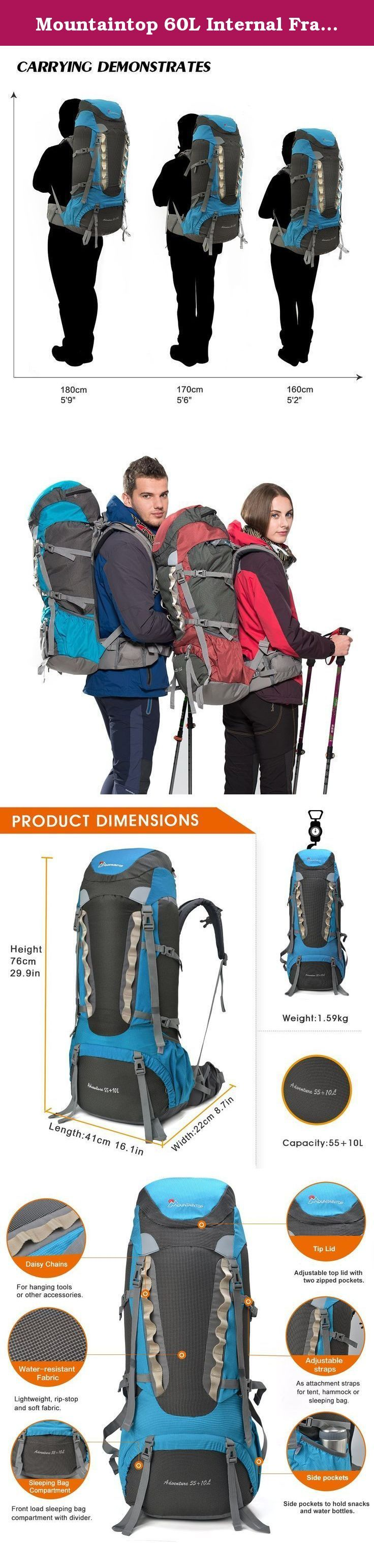 Mountaintop 60L Internal Frame Backpack. Product Description WINTER GIB SALE FOR CHRISTMAS!! EVERYTHING ON SALE UP TO 10% ~ 40% OFF!! GET YOUR NEW PACK NOW!! If the product you're going to purchase is shipping by us, not the FBA (Fulfillment by Amazon), it usually needs about 7 ~ 12 days to deliver. Order it now and your will receive it before Christmas. Features 1.3,660cu in high-capacity backpack for camping, hiking and backpacking 2.Water Repellent, Integrated rain cover deployed…