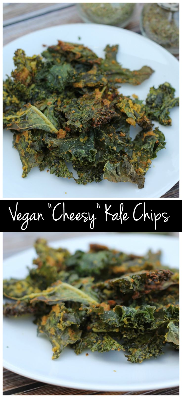 These cheesy kale chips are actually vegan! They're also super healthy, packed with protein, and vitamin B, and they're SO easy to make!