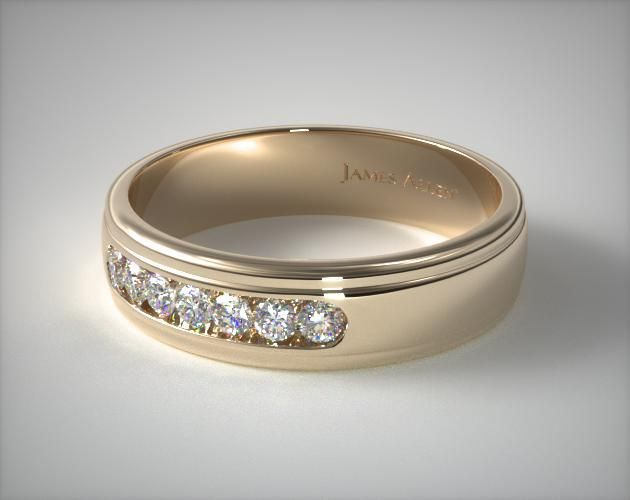 Amazing K Yellow Gold Mm Channel Set Diamond Wedding Ring