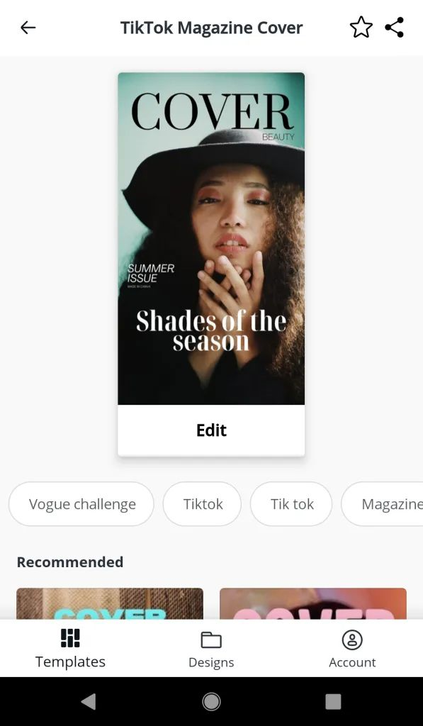 Vogue Cover Template For Tiktok Customize In Seconds Just Jes Lyn Cover Template Vogue Covers Cover