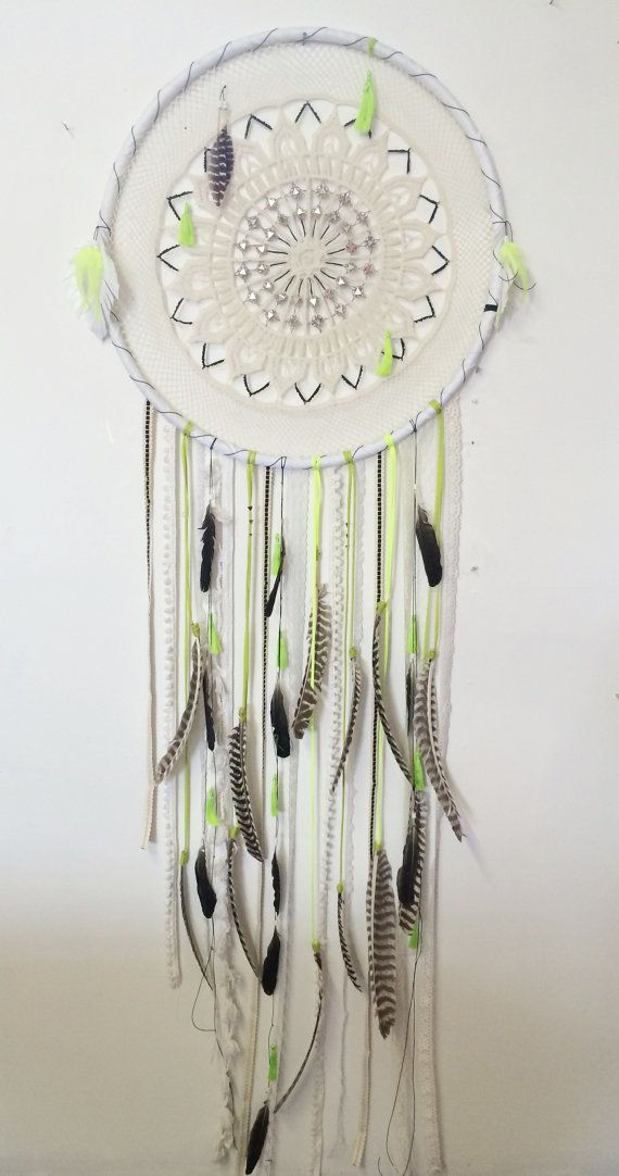 Huge White, Neon Green and Black DreamCatcher with tassels and striped feathers