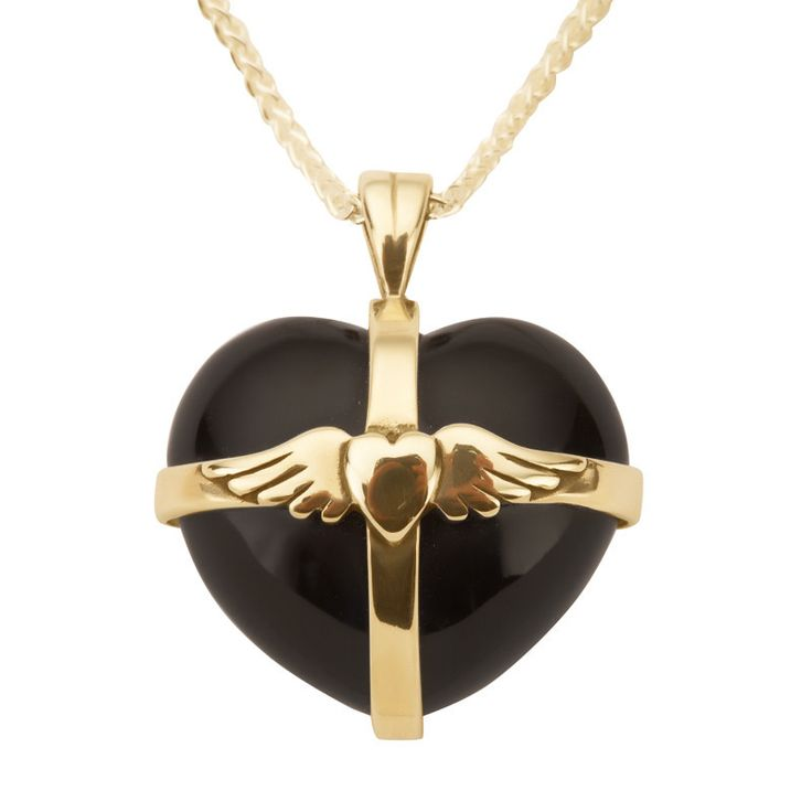 W Hamond Pendant Whitby Jet And Gold Large Winged Heart #whamond #necklaces