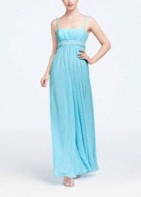 This spaghetti strap long chiffon dress has a beaded bust at the empire. The chiffon drapes softly to the ground making this an easy-to-wear piece. Wrap included.