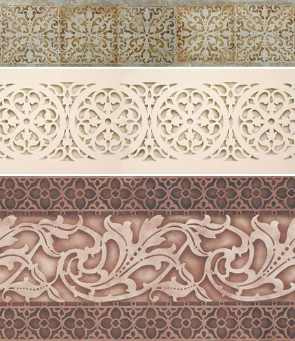 The look of stone and carvings created with stencils and shading with a stencil brush!