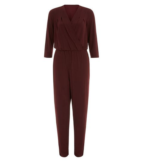 Mela Burgundy V Neck Wrap Front Jumpersuit