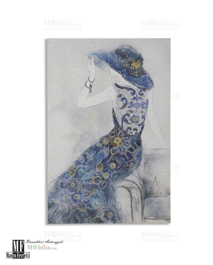 Quadro Donna con Cappello Mauro Ferretti su tela 60x90 cm, riccamente decorato. Scopri le eccezionali promozioni su Mobilia Store.