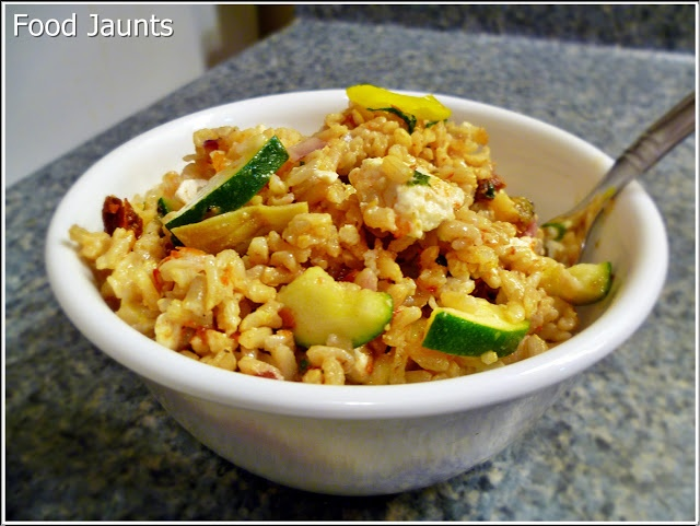 Mediterranean Rice Salad - Zucchini, Feta, Roasted Red Bell Peppers ...