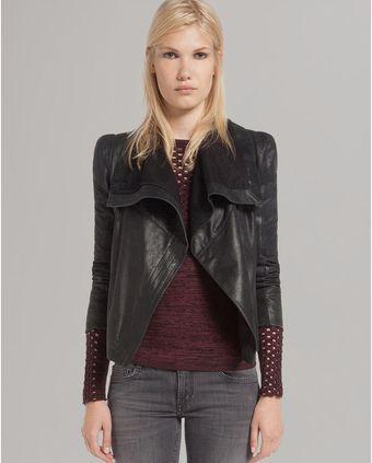 Maje Leather Jacket Draped Front - Lyst