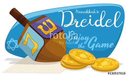 Wooden Dreidel with Golden Gelt Coins for Hanukkah Games