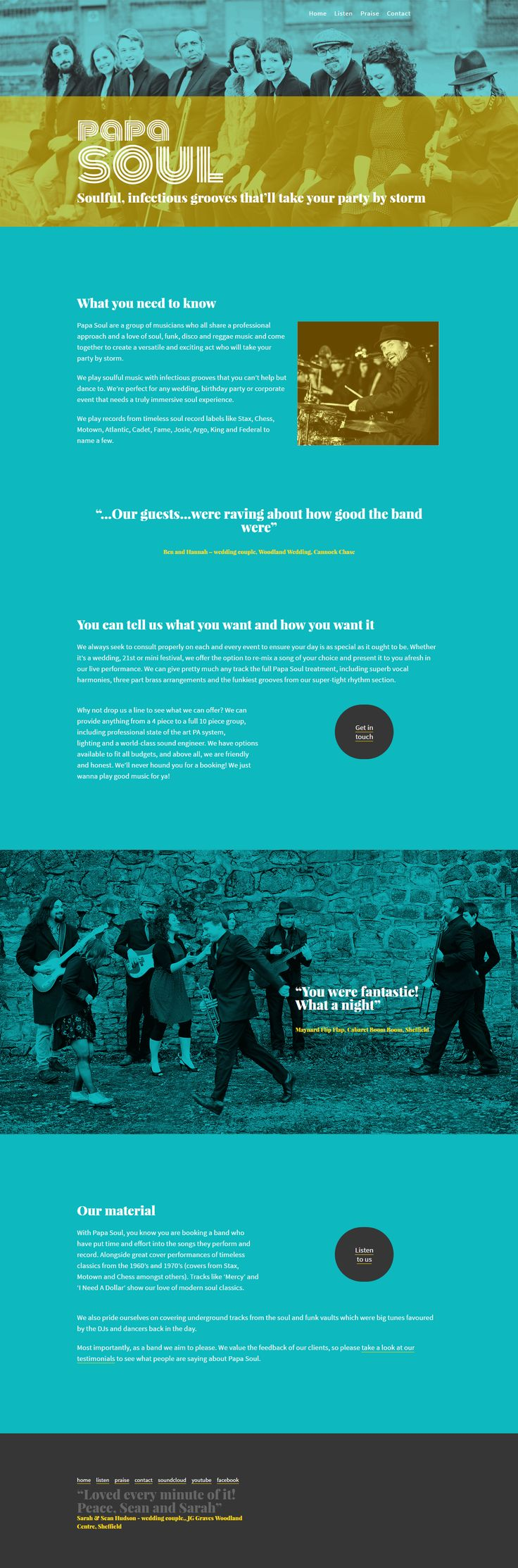 Website design by Engine Head. Designed for soul band Papa Soul. They wanted a reference to classic Blue Note artwork but also a thoroughly modern feel.