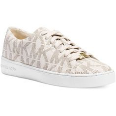 Michael Michael Kors Keaton Sneakers ($110) ❤ liked on Polyvore featuring shoes, sneakers, vanilla, michael kors footwear, michael kors, michael kors trainers, michael kors sneakers and michael michael kors shoes
