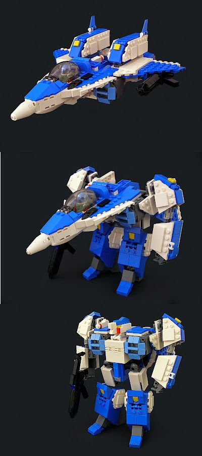 Transforming Lego Robotech fighter - Saving this for my Transformer/Robotech loving husband