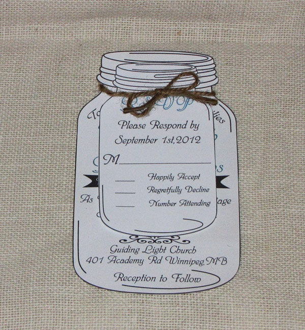 rustic mason jar wedding rsvp cards cute idea and maybe i With mason jar wedding invitations with rsvp cards